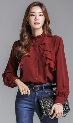 StyleOnme_Button-Up Ruffle Blouse The Effective Pictures We Offer Yo Korean Girl Fashion, Look Fashion, Fashion Details, Girls Fashion Clothes, Fashion Outfits, Sleeves Designs For Dresses, Casual Work Outfits, Casual Wear, Blouse Outfit