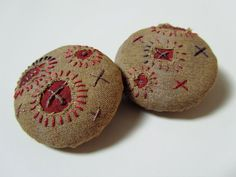 #ButtonArtMuseum.com - Embroidered Fiber Art Buttons - Rustic - Hand Stitched