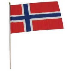 """Norway Flag 12 x 18 inch by US Flag Store. $2.20. Brilliant Colors Printed on Polyester Fabric. International 12in x 18in Stick Flag. Low Cost Shipping Available!. Sewn Edges. Mounted to a 24"""" Wooden Stick. Norway stick flag 12 x 18 inch, mounted on a 24 inch wooden stick. Flag is made from polyester and printed in bright colors to make an attractive flag. Each flag is individually sewn around the edges.. Save 31% Off!"""
