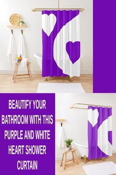 This purple and white, heart shower curtain adds a spot of color to a bathroom. The purple is a regal color and can be a nice part of your elegant shower curtain ideas. Elegant Shower Curtains, Bathroom Shower Curtains, Curtain Ideas, Program Design, Pattern Design, Abstract, Nice, Purple, Heart