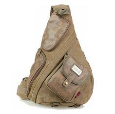 Men Military PU Leather Crossbody Shoulder Bag Outdoor Travels Hiking Backpack