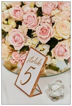 Dekoracja weselna w kolorze pudrowego różu Place Cards, Place Card Holders