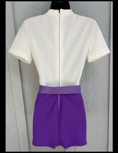 1960s Purple Culotte Hot Pant Jumpsuit Size Petite Medium Unworn