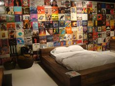Use old (or thrifted) album covers for a commitment-free accent wall. | 13 DIY…
