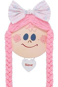 "Lil Bow Keeper Hair Bow Holder: Baby Hand Crafted 8"" Smiling wooden face 18"" Quality worsted yarn braids Personalize with child's name - we will write name for you...contact us after purchase Center bow fabric may vary but will be similar"