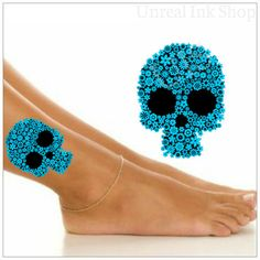 Hey, I found this really awesome Etsy listing at https://www.etsy.com/listing/200481498/temporary-tattoo-1-blue-flower-skull-leg