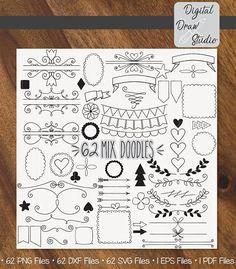 62 Elements Vector Variety Doodles Clip Art Hand Drawn