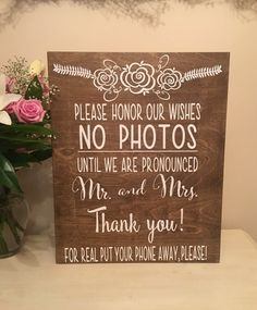 Welcome unplugged Wedding Sign -No Photos -Wedding Decor-Funny wedding sign-stained wood- wedding sign-Mr Mrs-painted-Rustic Decor