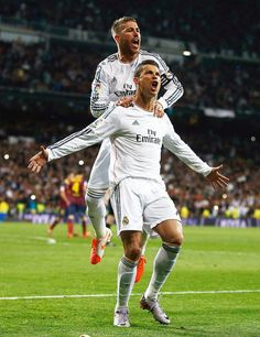 Cristiano Ronaldo celebrates after scoring against Barcelona in El Clasico. Sergio Ramos