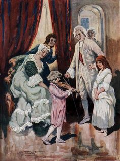 Anonimus Artist Mozart Wins the Heart of Royalty, 1763 (Mozart playing his violin in front of Empress Maria Theresa and her husband, Emperor Francis I). 1950 г
