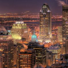 Montreal at night, as seen from Mount Royal lookout.