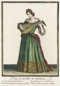 Recueil des modes de la cour de France, 'Dame de Qualité en Manteau'  Nicolas Bonnart (France, 1637-1717)  France, Paris, circa 1682-1686  Prints  Hand-colored engraving on paper