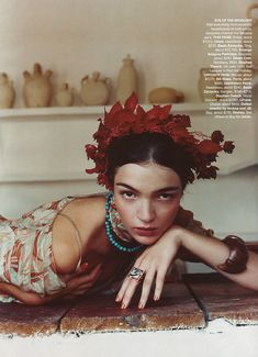 Fashion Studio: FASHION ICON - FRIDA KAHLO - There was a fashion editorial in US Harper's Bazaar in November, 2001 dedicated to Frida Kahlo, with a Brazilian model Mariacarla Boscono portraying the famous painter. Photographed by Nathaniel Goldberg.