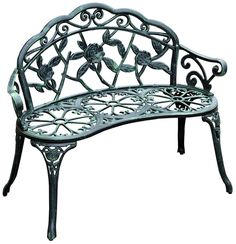 Outsunny Cast Iron Antique Rose Style Outdoor Patio Garden Park Bench