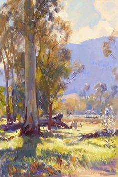 Peter Smales Launching Place Gums Yarra Valley 50x75cms Australian Painting Modern Art Artists Australian Art