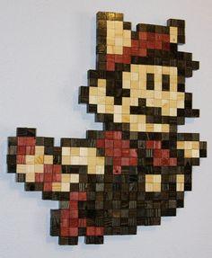 Flying Mario Wooden Pixel Wall Art. $195.00, via Etsy.