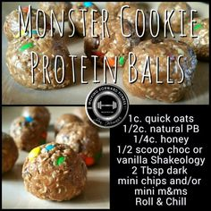 No bake shakeology bites. Can also use with cafe latte shakeology for the coffee flavor! Protein Bites, Protein Ball, Protein Snacks, Protein Muffins, High Protein, Protein Smoothies, Protein Cookies, Fruit Smoothies, Quest Protein