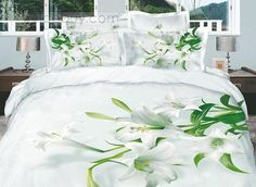 Dignified White Lilies Active Printed 4 Piece Cotton Comforter Sets : Tidebuy.com