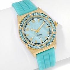 27087f94941f67 GORGEOUS aqua rubber with aqua stones watch Turquoise Color