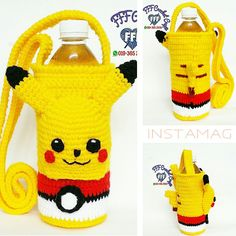 Crochet Pikachu bottle holder Crochet Coffee Cozy, Crochet Cozy, Crochet Gifts, Cute Crochet, Crochet For Kids, Pikachu Crochet, Kawaii Crochet, Pokemon Bag, Hello Kitty Crochet