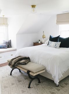 A Modern Master Bedroom Makeover by Studio McGee. Contact studio McGee for the rug.