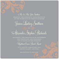 Stylized Foliage - Signature White Wedding Invitations - East Six Design - Smoke - Gray : Front