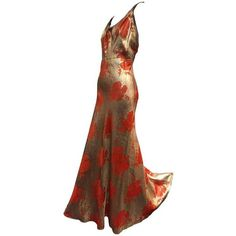 Preowned 1930s Germaine Monteil Gold And Persimmon Floral Silk Lamé... ($4,500) ❤ liked on Polyvore featuring dresses, gowns, orange, gold evening dresses, white evening dresses, floral evening gown, gold dress and white silk dress