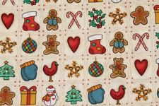 Christmas gingerbread, snowman material/fabric 4 sewing, quilting, crafts etc