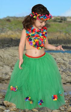 3f9cb69582 Disfraz de hawaiana para cumpleaños o fiesta infantil. Falda