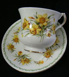 Rosina Special Flowers Queens Fine Bone China Daffodil March Tea Cup Saucer set #QueensSpecialFlowersRosina
