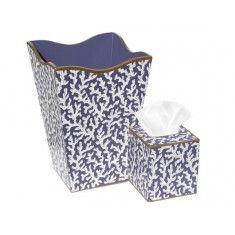 White Coral on Blue Wastebasket and Tissue Box Set