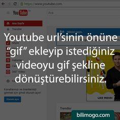 """Youtube url'sinin önüne """"gif"""" ekleyip istediğiniz videoyu gif şekline dönüştürebilirsiniz."""