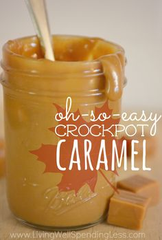Oh-So-Easy Crockpot dulce de leche.you seriously won't believe how easy it is! Just one ingredient + a crockpot is all you need for the most delicious caramel sauce on the planet. Perfect for recipes, ice cream, or as an apple dip! Crock Pot Desserts, Köstliche Desserts, Crock Pot Cooking, Cooking Recipes, Dessert Sauces, Yummy Treats, Yummy Food, Sweet Treats, Salsa Dulce