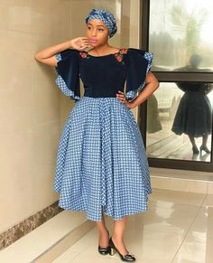 Newest South African Shweshwe Dresses for Women 2019 - Styles Art African Fashion Designers, African Dresses For Women, African Print Dresses, African Print Fashion, African Attire, African Wear, African Fashion Dresses, Fashion Outfits, African Style