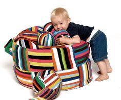 Baby Bori Bori Bean Bag / Round bean bag made up of upcycled material