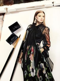 Fashion Design Drawing Even putting the materials and utensils in the photo gives it something more than just being the croquis itself Moda Fashion, Fashion Week, New Fashion, Fashion Art, Fashion Models, Fashion Quotes, Fashion Vintage, Korean Fashion, Winter Fashion