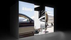 228 Flugzeug Charter AIRental | Umwerfender Messestand für eine Anbieter von Charterjets.  Das besondere Format der hinterleuchteten Seitenteile und das Learjet Motiv sind ein Hingu...