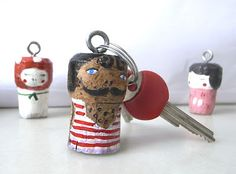 character keyrings from recycled corks