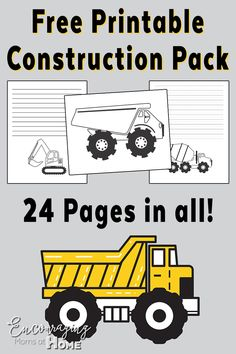 Road Construction Printable: Handwriting, Notebooking and Coloring Pages Free Printable Pack Construction themeFree Printable Pack Construction theme Construction Theme Preschool, Construction Crafts, Road Construction, Construction Birthday Parties, Construction Business, Construction Design, Construction Bulletin Boards, Truck Coloring Pages, Colouring Sheets