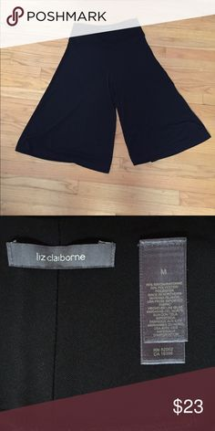 Liz Claiborne Black Gaucho Pants -Excellent condition.  -Classic black color -Gaucho pants are trendy and such a great alternative to regular pants or a skirt!  -Waistband: 29.5 inches -Waistband to bottom: 27.5 inches -Inseam: 14.5 inches -No trades, pp or lowballs, but feel free to make a reasonable offer! Liz Claiborne Pants