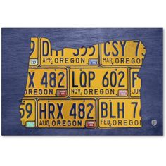 Trademark Fine Art 'Oregon License Plate Map' Canvas Art by Design Turnpike, Size: 22 x 32, Multicolor