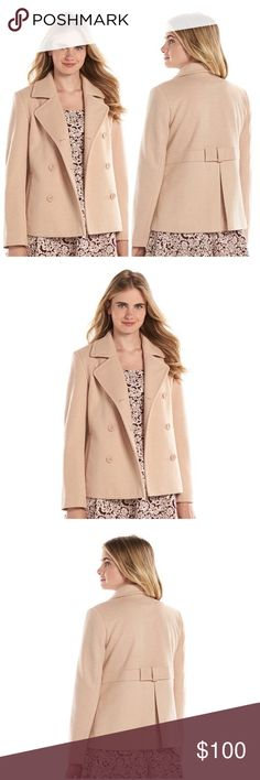 LC LAUREN CONRAD Blush Pink/Tan Bow-Back Peacoat NWT LC LAUREN CONRAD Blush Pink/Tan bow-back wool-blend peacoat will add chic style to your winter wardrobe! (The color is tan with a blush pink undertone)  PRODUCT FEATURES Bow-back design with inverted pleat adds a cute touch Double-breasted design Button front Long raglan sleeves Lined 2-pockets Wool, polyester blend w/polyester lining Dry clean  *Bundle Discounts * No Trades * Smoke free LC Lauren Conrad Jackets & Coats Pea Coats