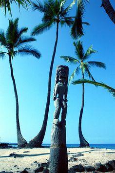 Tiki Man. Tiki statue guarding sacred Hawaiian grounds.