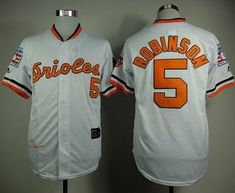 2e97d5790 MLB Baltimore Orioles 5 Robinson White Throwback with Hall of Fame Patch  Jersey