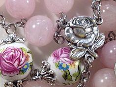 Rosary - Rose Quartz Gemstones, Beautiful Rose Ceramic Beads, Ornate Crucifix, Rose Center, Large Gemstone Rosary by Belladonna's Shoppe on Etsy, $92.00