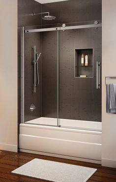 bathtub enclosures shower doors toronto fully framed glass and tub Bamboo Room Divider, Living Room Divider, Tub Shower Combo, Shower Tub, Bath Tub, Shower Stalls, Frameless Shower, Hall Bathroom, Bathroom Renos