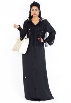 Nothing spells glamour like this stylish Abaya by Rouge Couture! Features fringes and stud detailing and luxurious silk fabric that adds a classy appeal. If you've got a flare for edgy chic fashion then this gorgeous creation is the perfect choice for you.