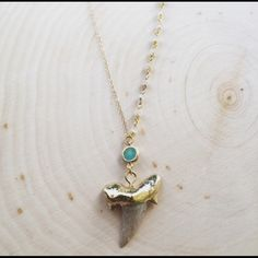 Boho Shark Tooth Necklace Moonstone Gold Dipped This is a genuine shark tooth necklace on 14k filled gold chain. It measures 20in. long, shark tooth measures about 1 1/4in. long, you will not receive exact shark tooth pictured, but it will be very similar as no two are the exact same. Jewelry Necklaces
