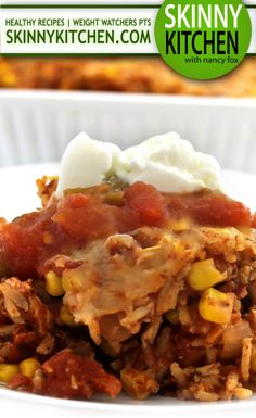 Skinny Mexican Chicken and Brown Rice Casserole. It's so hearty and heathy with wonderful Mexican flavors. Each serving has 299 calories, 8g fat & 8 Weight Watchers POINTS PLUS. http://www.skinnykitchen.com/recipes/skinny-mexican-chicken-and-brown-rice-casserole/