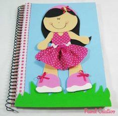 Capa de caderno em EVA para as meninas